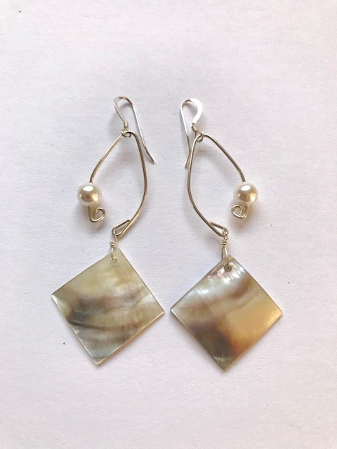 Image of Fish Lure Inspired Abalone and Pearl Earrings