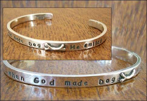 """Image of """"When God Made Dog He Smiled"""" Sterling Bracelet"""