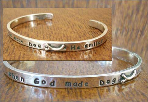 "Image of ""When God Made Dog He Smiled"" Sterling Bracelet"