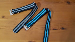 Image of 22MM NATO NYLON OMEGA GENTS WATCH STRAP,JAMES BOND 007,TOP QUALITY.GREY AND BLUE .