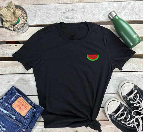 Image of Wholesale- Watermelon Embroidered Women's Crew Neck Shirt