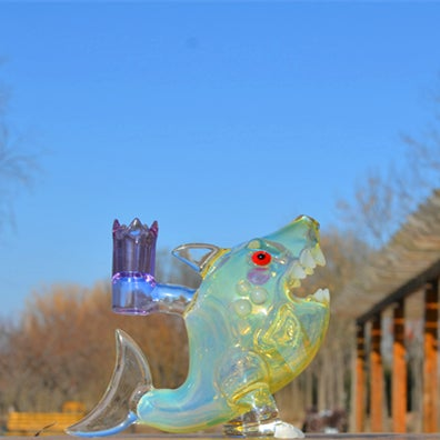 Image of Fumed Standup Shark Rig with SOL perc 14.5mm joint