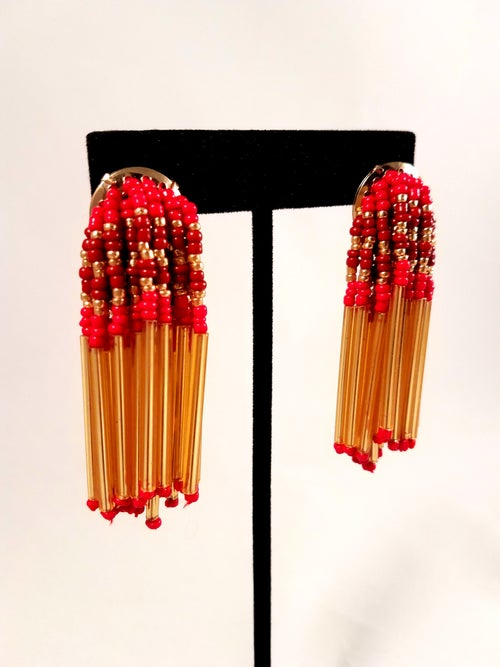 Image of Beaded Tube Earrings