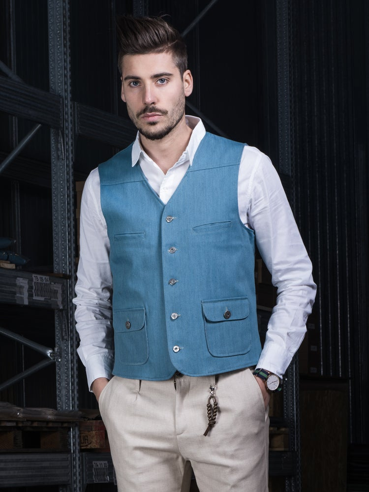 Image of GILET LIGHT BLUE DENIM R90C