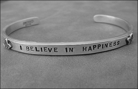 "Image of ""I Believe in Happiness"" Sterling Bracelet"