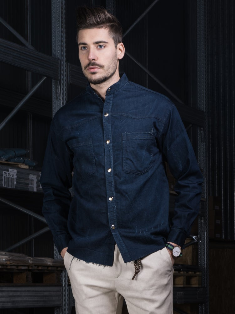 Image of DENIM SHIRT DEEP BLUE CAM01BS