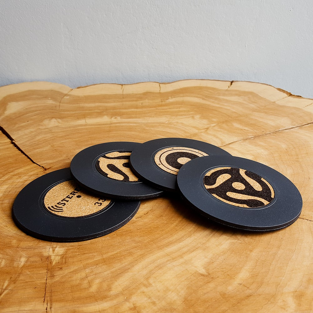 Image of 45 RPM Record Coasters - Cork Label LP Album, Speaker, and 45 Adapter