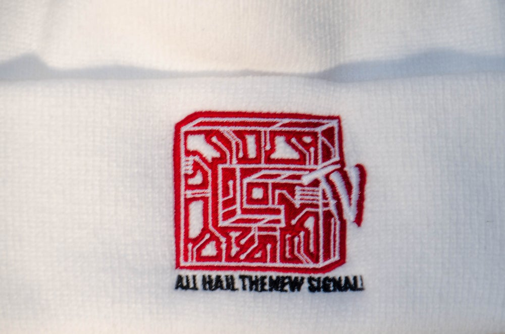 Image of WHITE CIRCUITBOARD BEANIE