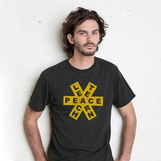 Image of TEACH / PEACE / LEARN Men's Shirt (Black/Mustard)