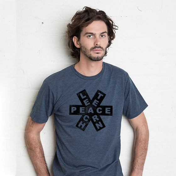 Image of TEACH / PEACE / LEARN Men's Shirt (Navy/Black)