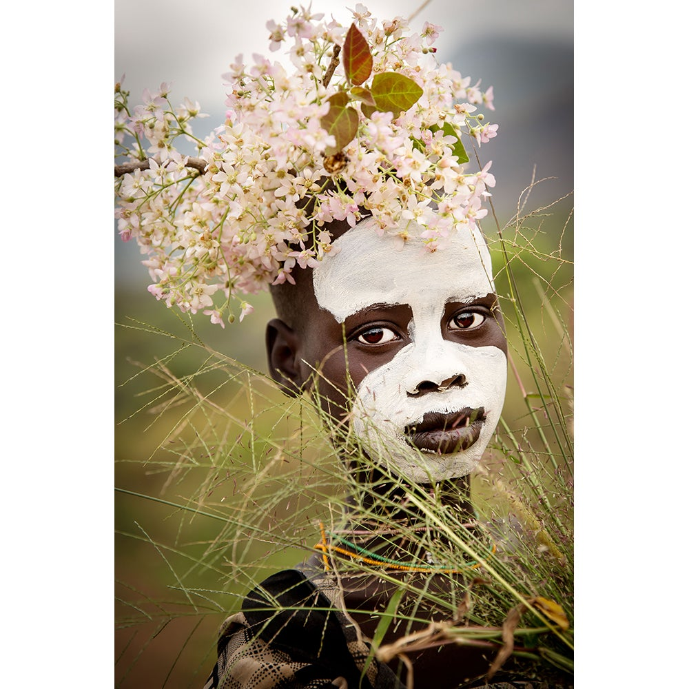 Image of PHOTOGRAPH - AHMED - SURI BOY WITH PINK FLOWERS