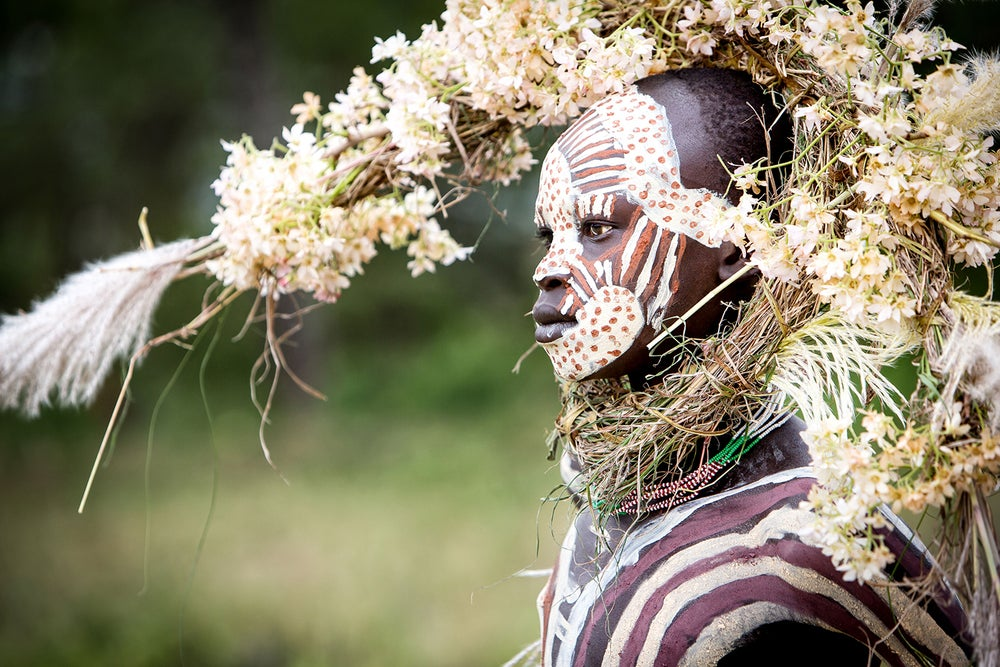 Image of PHOTOGRAPH - ABEBE - SURI BOY WITH CROWN OF FLOWERS