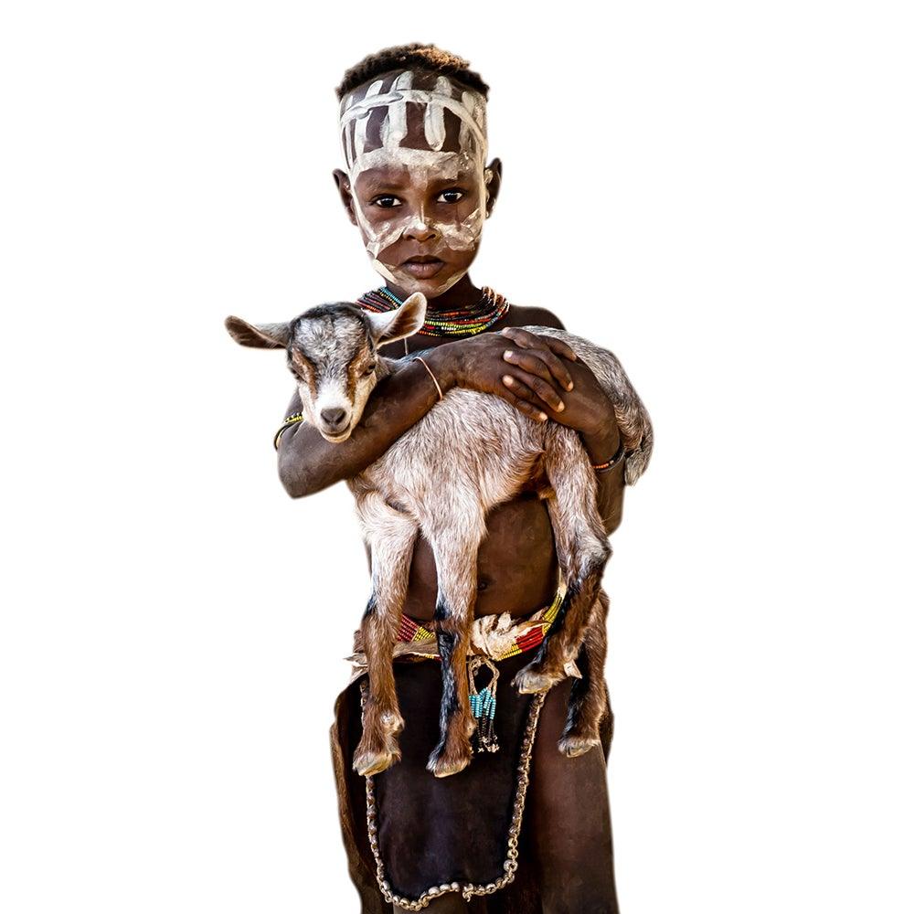 Image of CANVAS - JONATHAN - Little Kara boy with baby goat