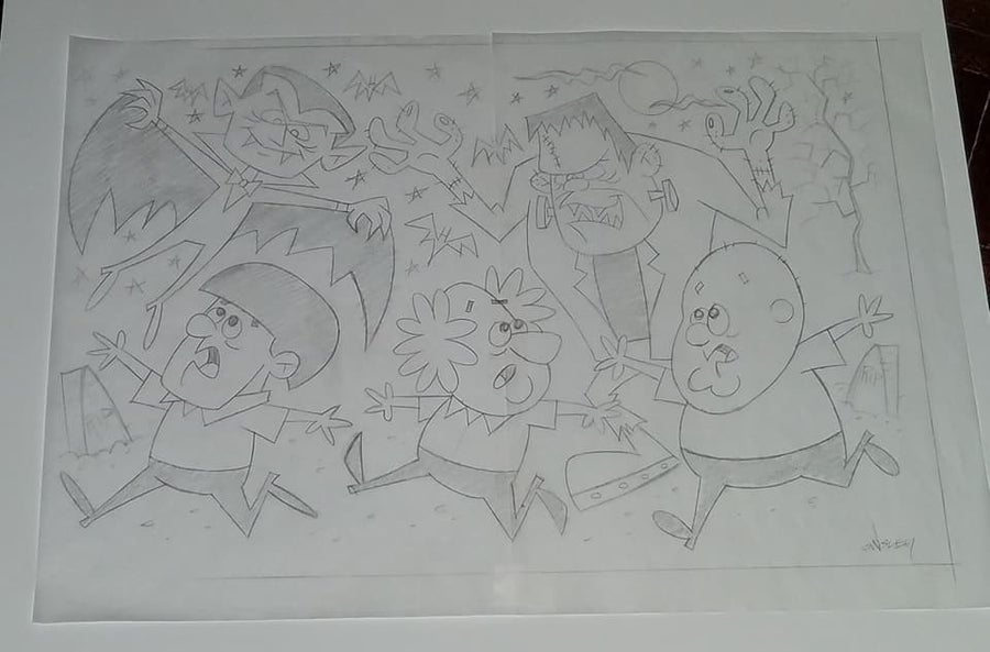 Image of THE THREE STOOGES MEET THE MONSTERS 12x17 PENCIL SKETCH