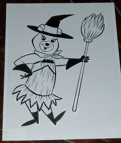 Image of CINDY BEAR 8.5x11 ORIGINAL ART - HALLOWEEN at the JELLYSTONE PARK CAMPING RESORTS