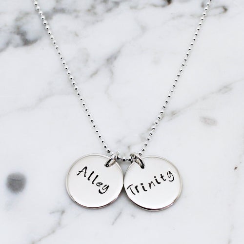 Image of Personalised Double Disc Sterling Silver Necklace