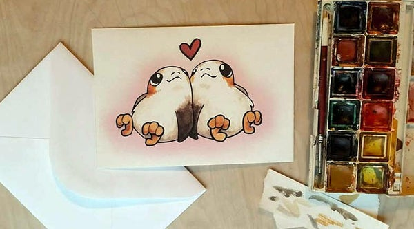 Image of Porg Love - Valentines Card