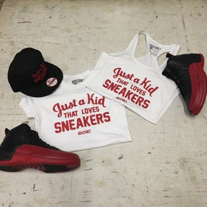 """Image of JUST A KID THAT LOVES SNEAKERS """"BLACK OR WHITE /RED PRINT"""" TSHIRT (WOMENS)"""