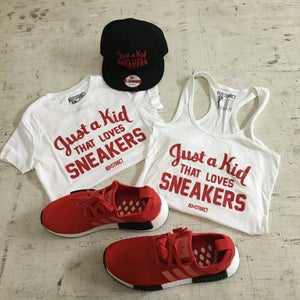 "Image of JUST A KID THAT LOVES SNEAKERS ""BLACK OR WHITE /RED PRINT"" TSHIRT (WOMENS)"