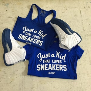 """Image of JUST A KID THAT LOVES SNEAKERS """"WHITE PRINT"""" TSHIRT (WOMENS)"""