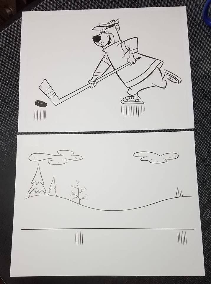 Image of TWO-PIECE YOGI BEAR HOCKEY ORIGINAL CHARACTER ART & BACKGROUND SET