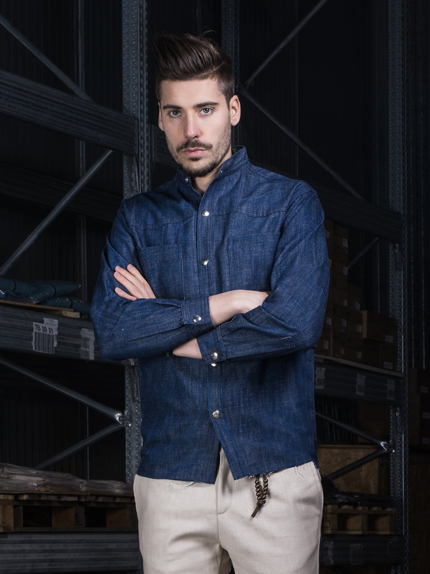 Image of DENIM BLUE INDIGO SHIRT CAM01BI
