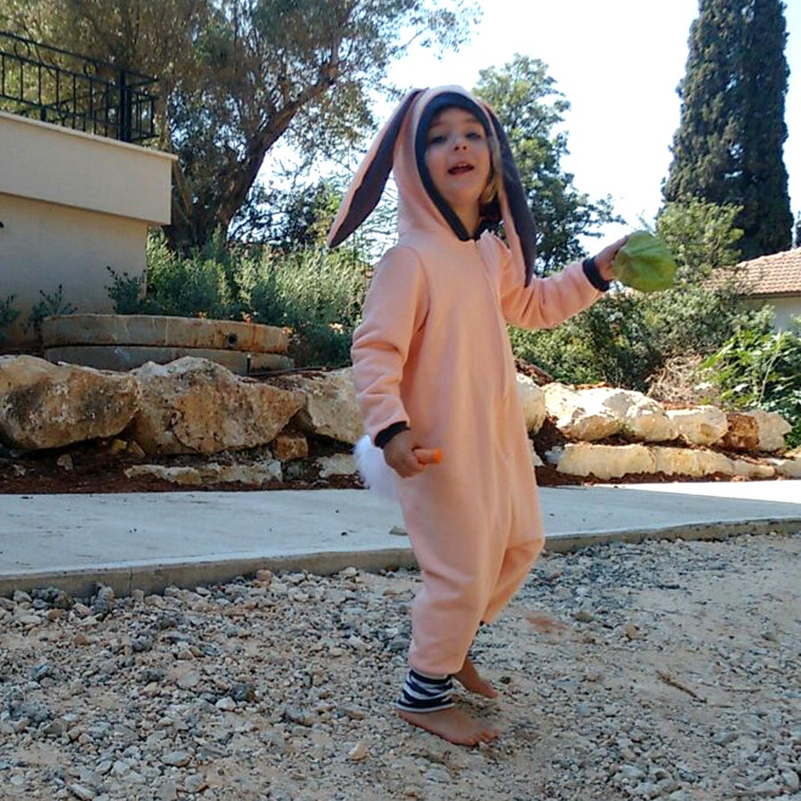 Image of Pink bunny cotton french terry play suit אוברול ארנב ורוד
