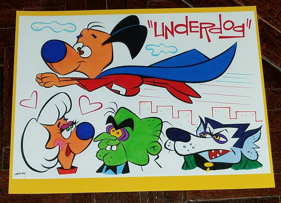 Image of UNDERDOG with SWEET POLLY, SIMON BAR SINISTER, and RIFF RAFF 8.5x11 PRINT