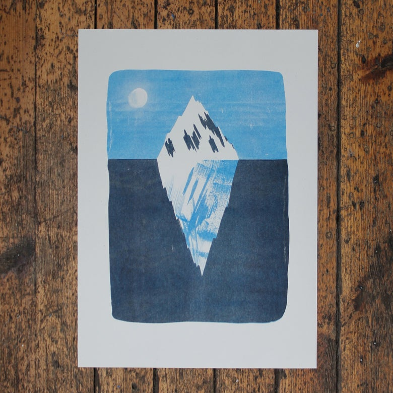 Image of Iceberg 2-colour risograph print