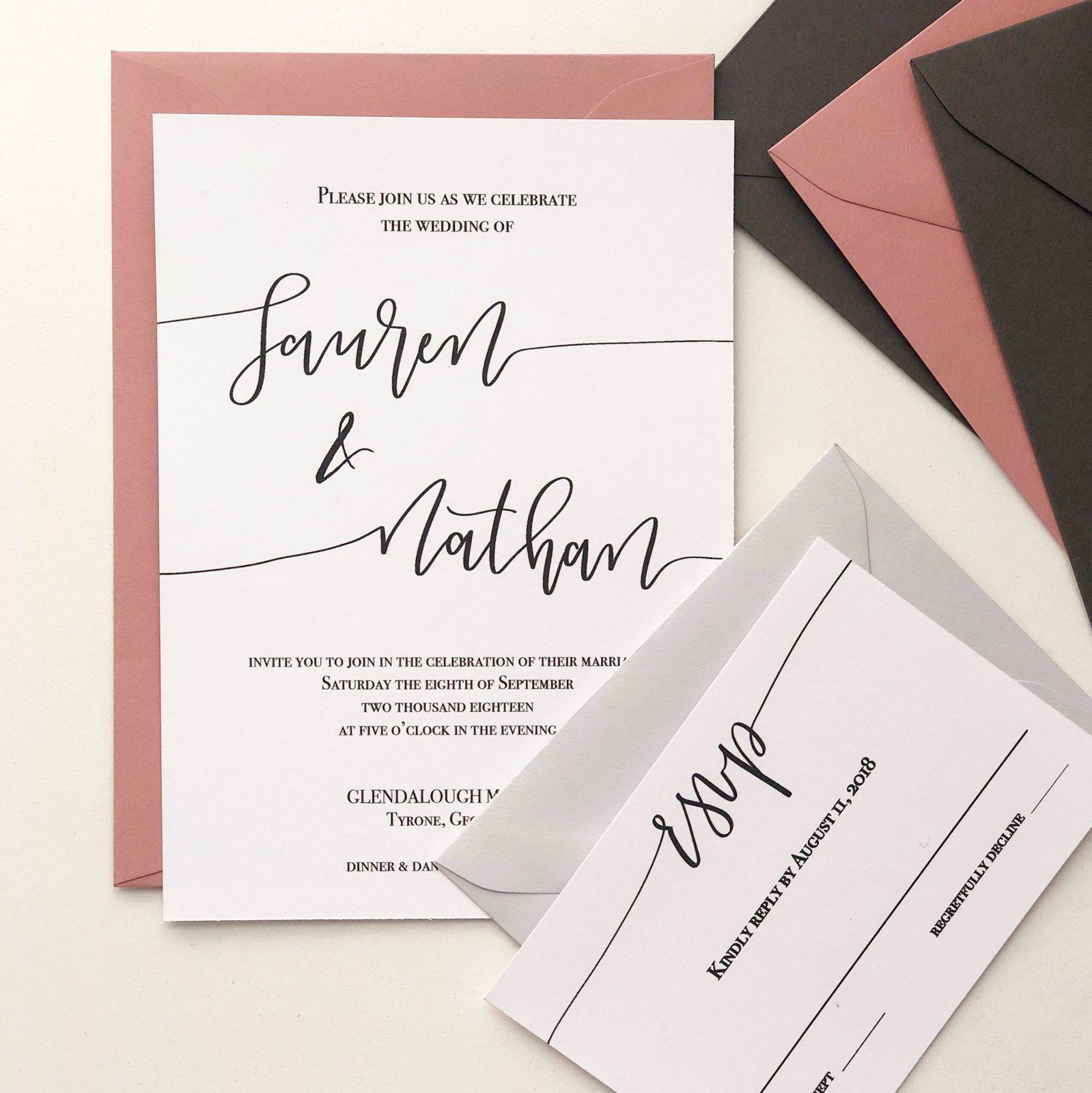 Lauren Calligraphy Invitation Suite Lime Paperie
