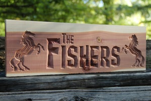 Image of Personalized Wood Sign - CNC Custom Carved Aromatic Cedar Wood Sign - Ranch
