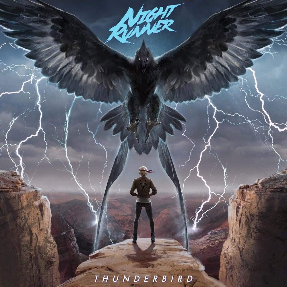 Image of Night Runner: Thunderbird Black/Grey w/Blue splatter 163 copies