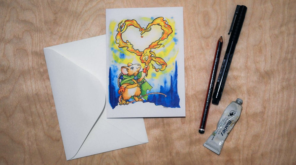 Image of Firey Heart - Valentines Card
