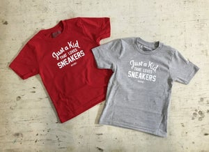 """Image of JUST A KID THAT LOVES SNEAKERS T-SHIRT """"WHITE PRINT"""" (YOUTH)"""
