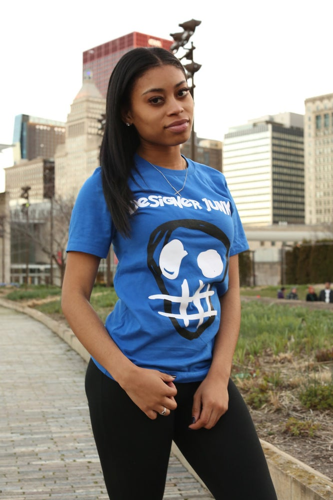 Image of Royal Blue Designer Junkie Original Logo Tee
