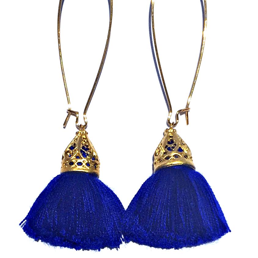 Image of Gold Waikiki Tassel Earrings - Sapphire