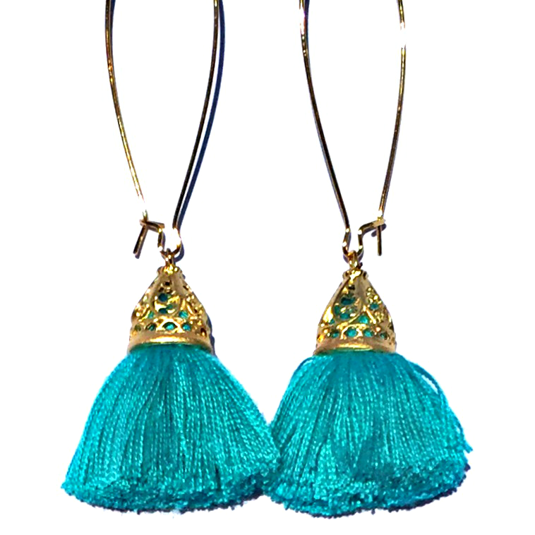 Image of Ltd Ed - Gold Waikiki Tassel Earrings - Lagoon