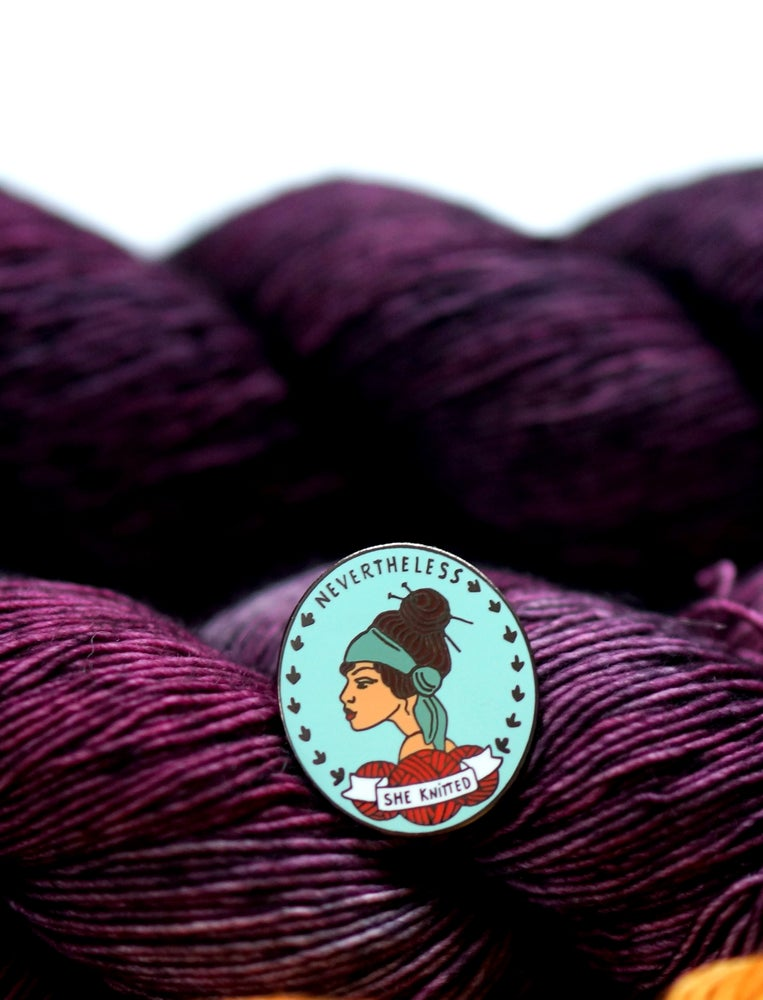 Image of Nevertheless She Knitted Enamel Pin