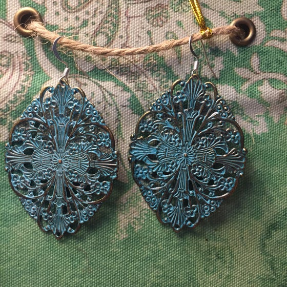 Image of Patina Turquoise Filigree Dangle Earrings