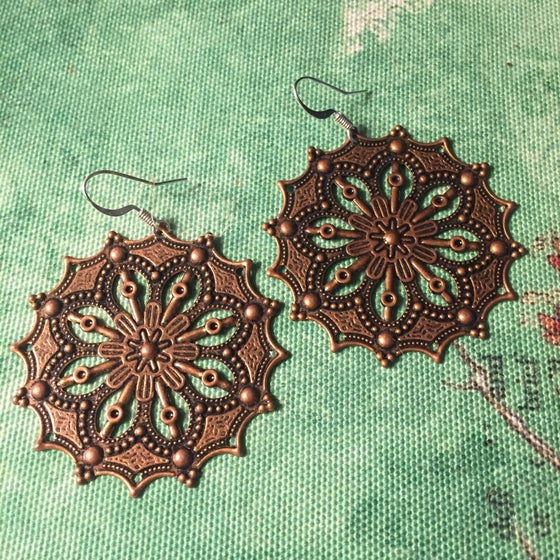 Image of Copper Mandala Circle Dangle Earrings