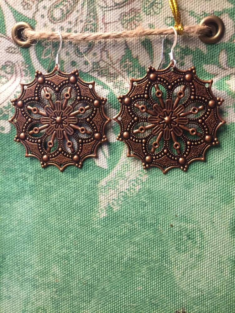 Image of Copper Mandala Circle Dangle Earrings