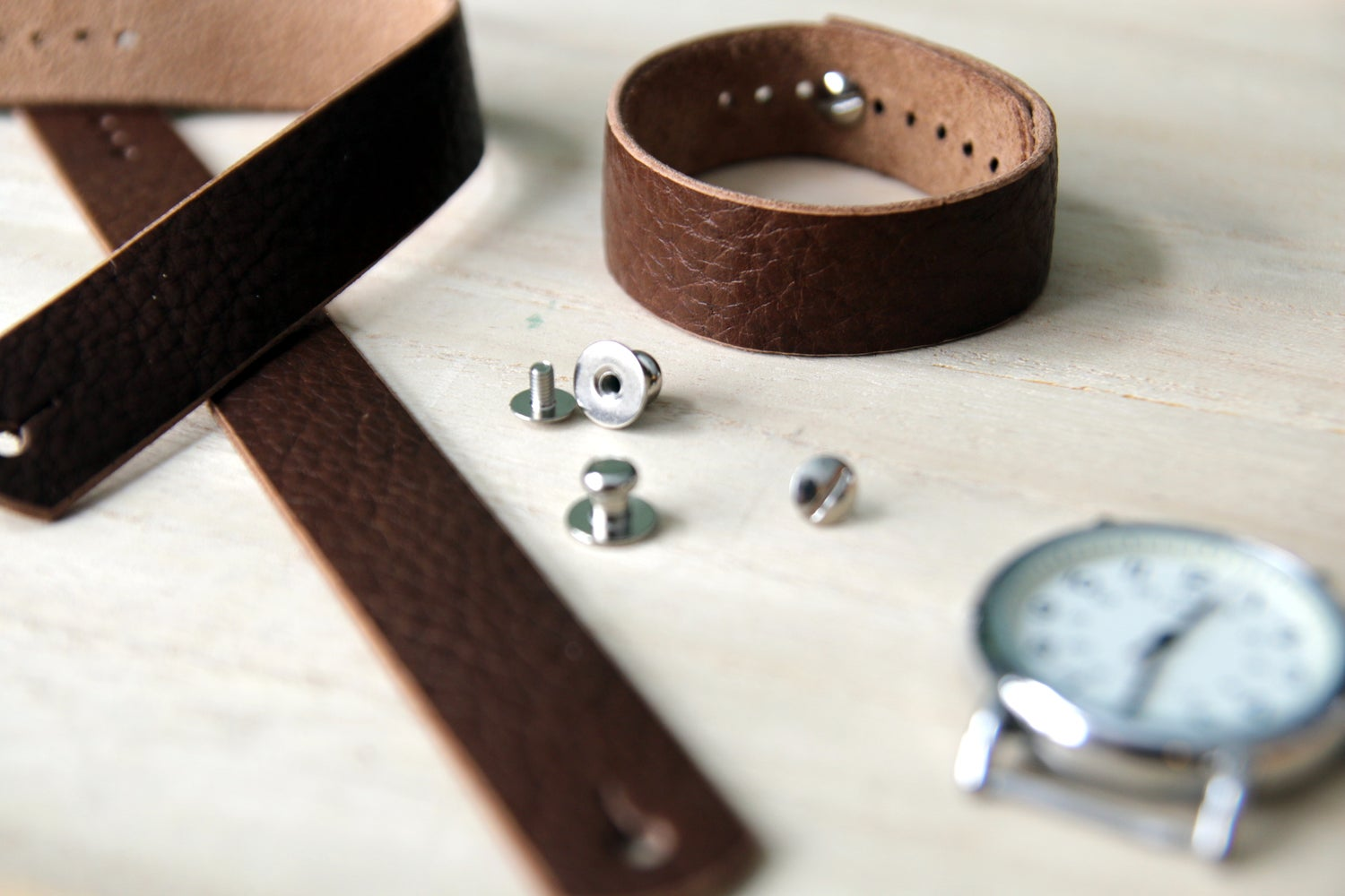 Image of Button Stud Watch Strap - Horween Brown Bison
