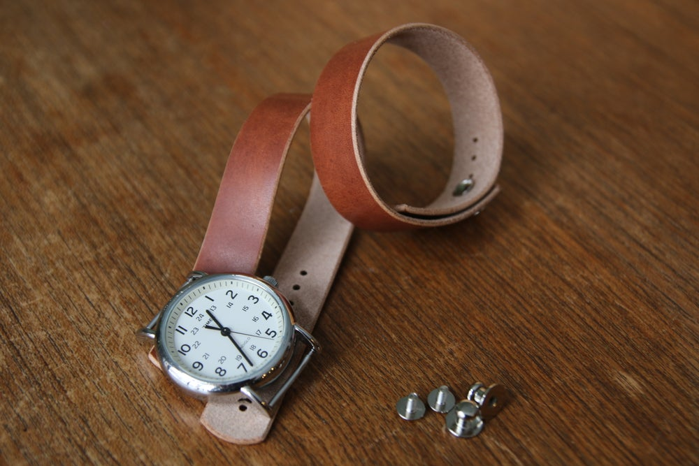 Image of Button Stud Watch Strap - Horween Natural Dublin
