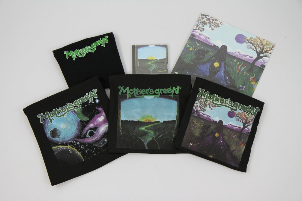 Image of MOTHER'S GREEN swimming in the sun vinyl 180g/cd combo pack with tshirt of your choice