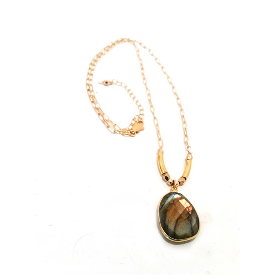 Image of Labradorite Pendant Gold Bar Bohemian Y-shape Necklace