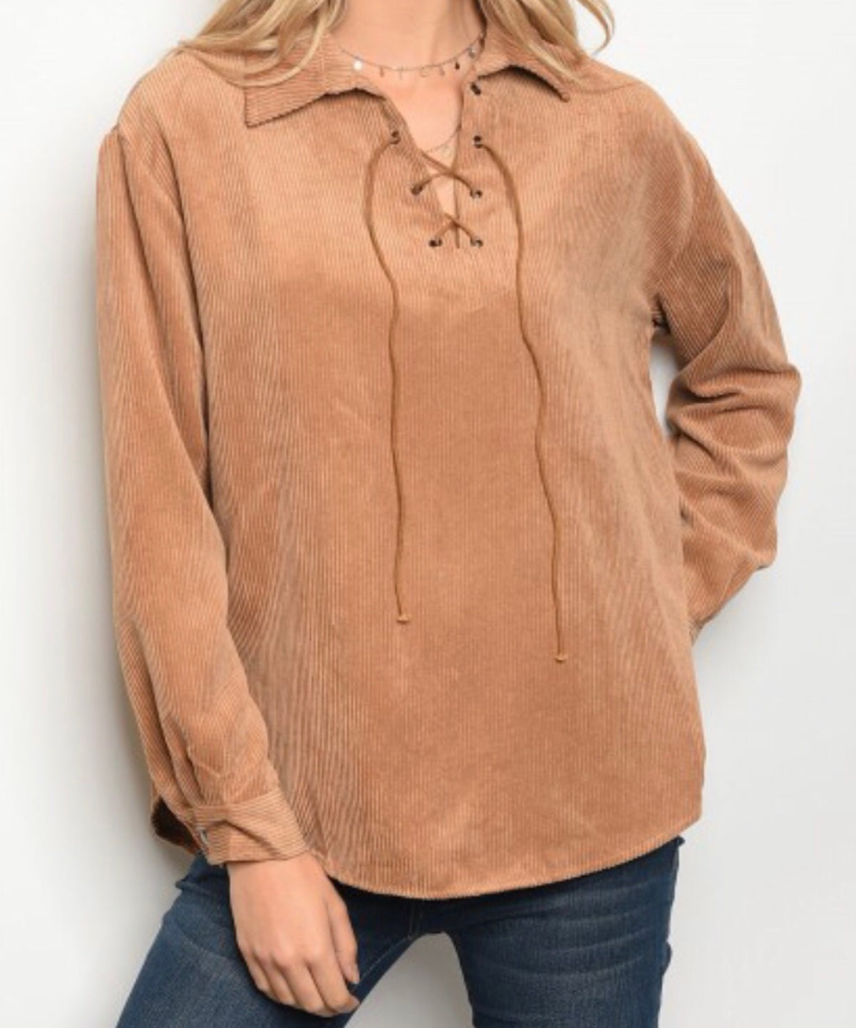 Image of Lace Up Suede Top