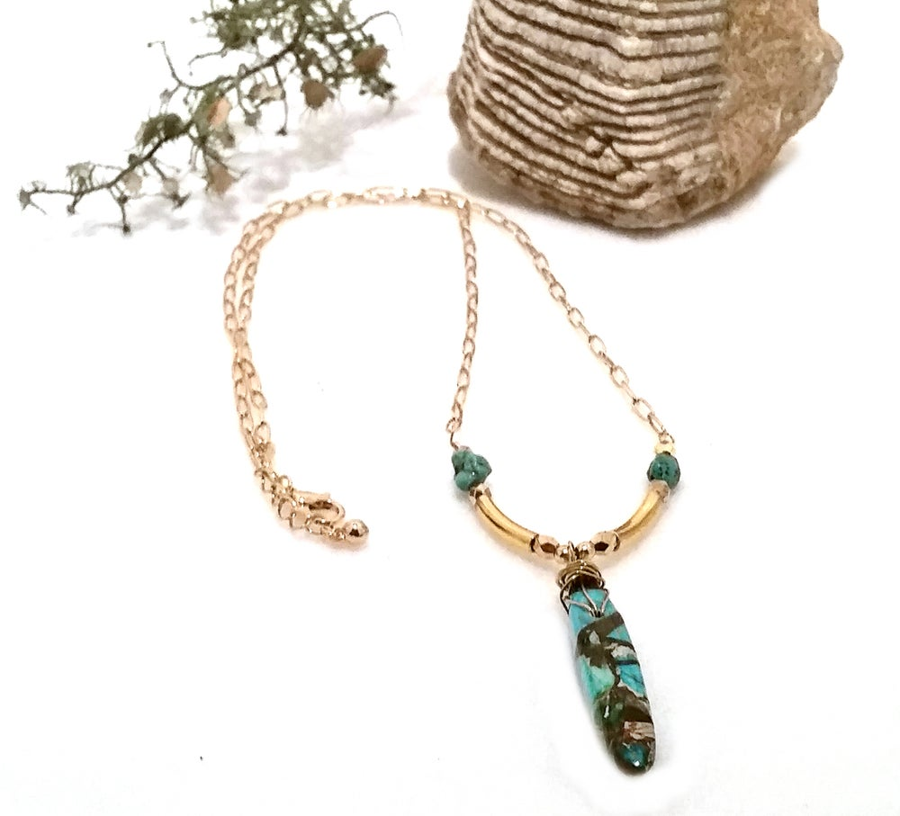Image of Turquoise Dagger Pendant Gold Bar Bohemian Y Necklace