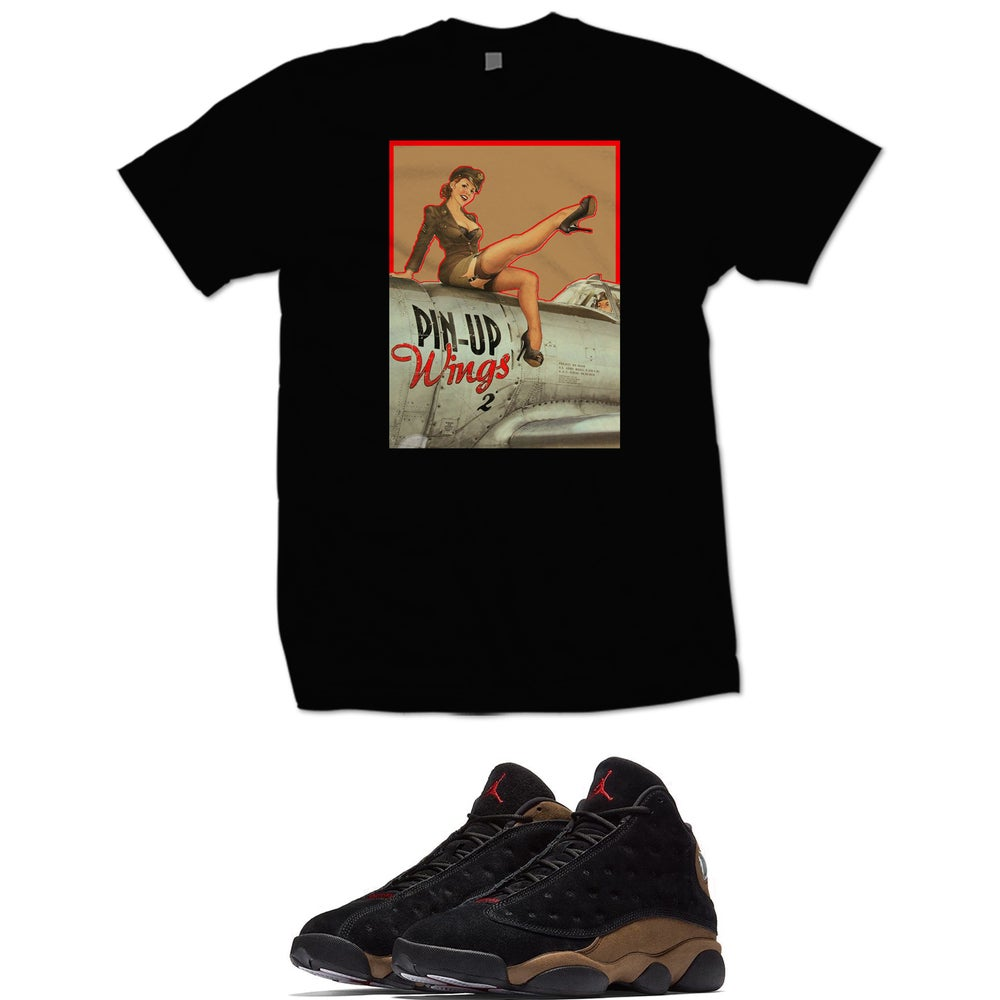 Image of PIN UP RETRO 13 OLIVE T SHIRT - BLACK