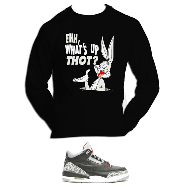Image of What's Up Thot retro 3 black cement sweatshirt - Black