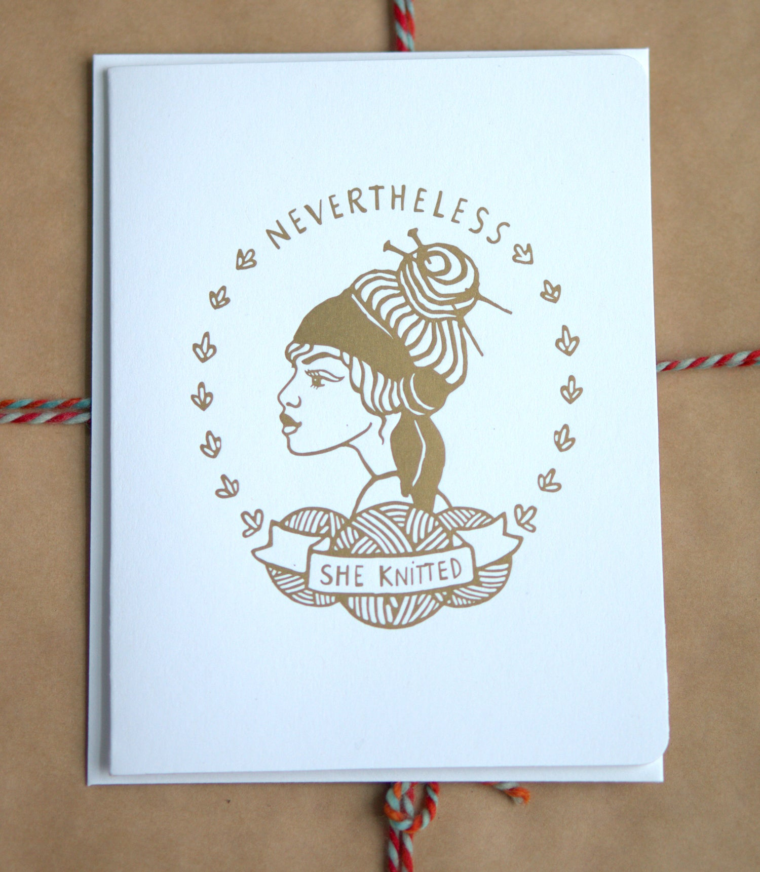 Image of Nevertheless She Knitted - Gold Letter Press Cards